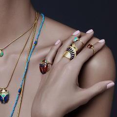 Egyptian Lotus Ring Lapis Blue