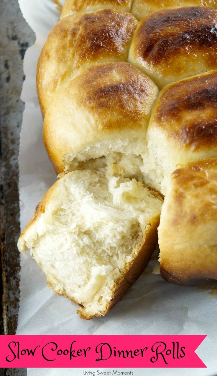 These buttery Slow Cooker Dinner Rolls do not require proofing and are sweet, soft and delicious. Perfect to serve with dinner or with jam at breakfast.