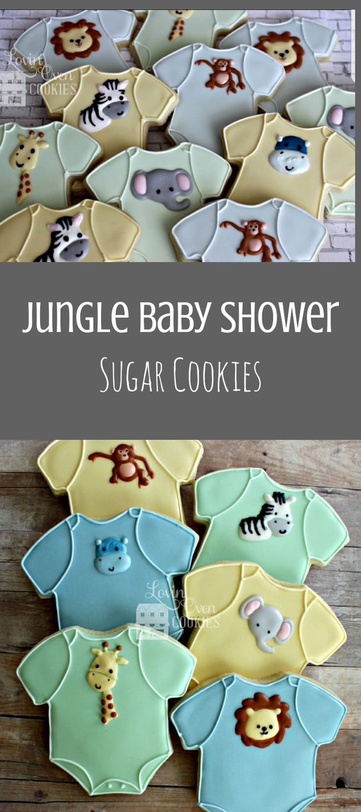 Baby Onesie Safari/Jungle Theme Decorated Sugar Cookie - Baby Shower Favor - Giraffe, Lion, Elephant #affiliate