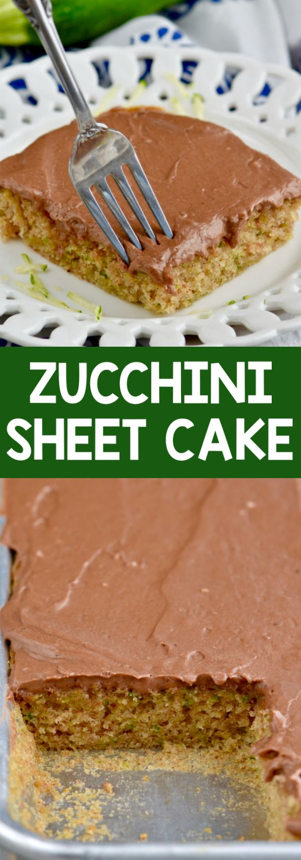 This Zucchini Sheet cake, smothered with chocolate frosting, is the perfect dessert! So delicious and feeds a crowd!
