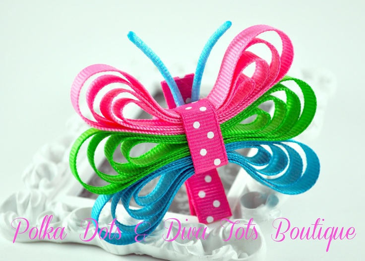 Pink, Tuquoise, and  Apple Green Butterfly Ribbon Hair Clip. $5.00, via Etsy.