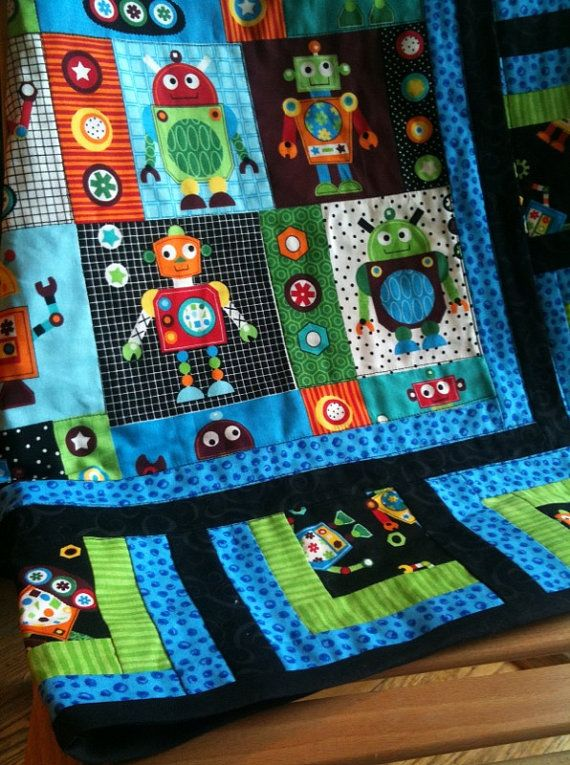 46 best images about robots on pinterest minky baby for Robot quilt fabric