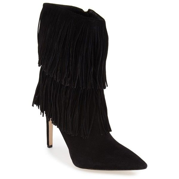 Sam Edelman 'Belinda' Fringed Suede Pointy Toe Boot, 3 3/4