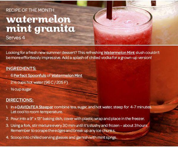 Davids Tea Watermelon Mint Granita recipe