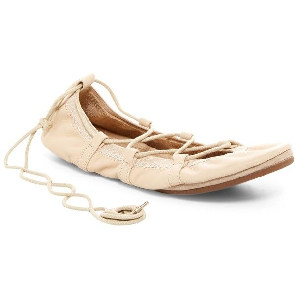 Yosi Samra Lace-Up Ballet Foldable Flat ($50) ❤ liked on Polyvore featuring shoes, flats, light natural, round toe lace up flats, lace up flats, ballerina shoes, foldable flats and ballerina flats