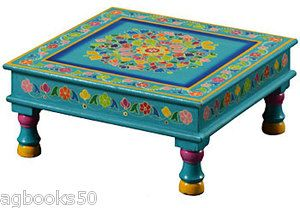 Coffee Table Hand Painted Turquoise Blue Bajot Table Fair Trade Camping Home New…