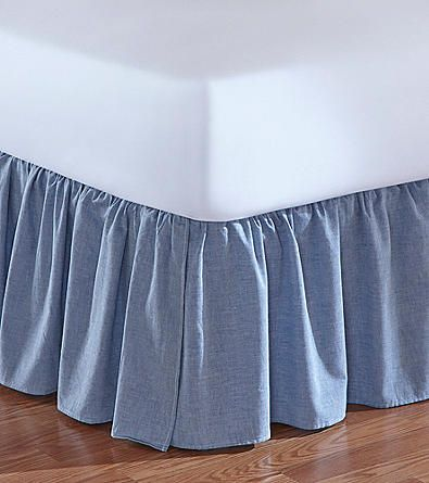 Jessica Simpson Ruched Chambray Denim Bed Skirt Elder