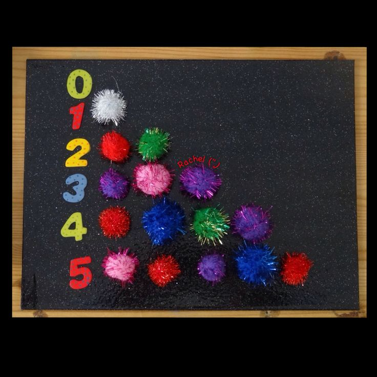 """Counting 'fireworks' (sparkly pom-poms) from Rachel ("""",)"""