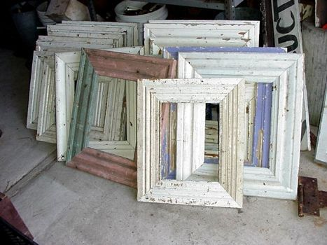 Cheap frames from recycled baseboards and crown molding! Totally doing this for an awkward sized piece of art in my house