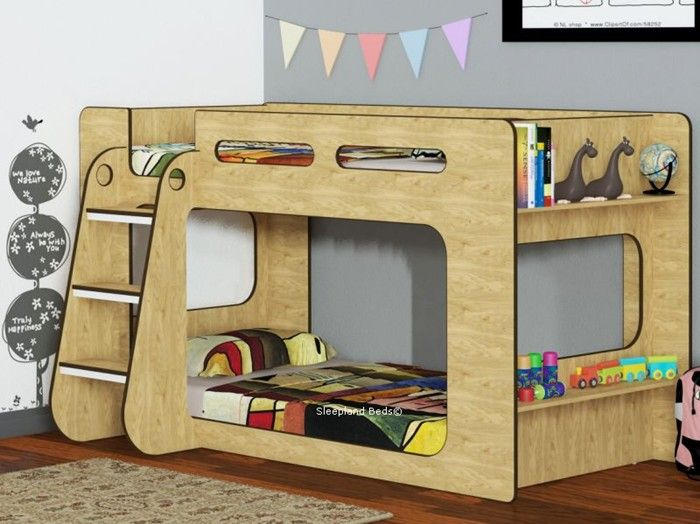 Shortie Low Height Bunk Beds In Oak - Short Kids Bunk Bed With Shelves