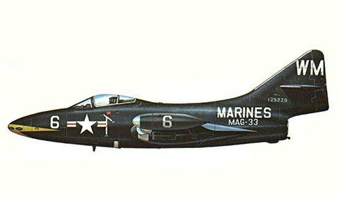 Grumman F-9 F 4, MAG-32, guerra de Corea, Corea, 1953. Pin by Paolo Marzioli
