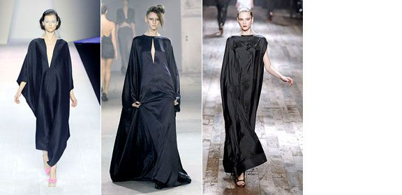 Daring display of volume and Norma Desmond-style drama in Giambattista Valli's and Haider Ackermann's super cool black-as-night tent-dresses. From left: Giambattista Valli, Haider Ackermann, Lanvin