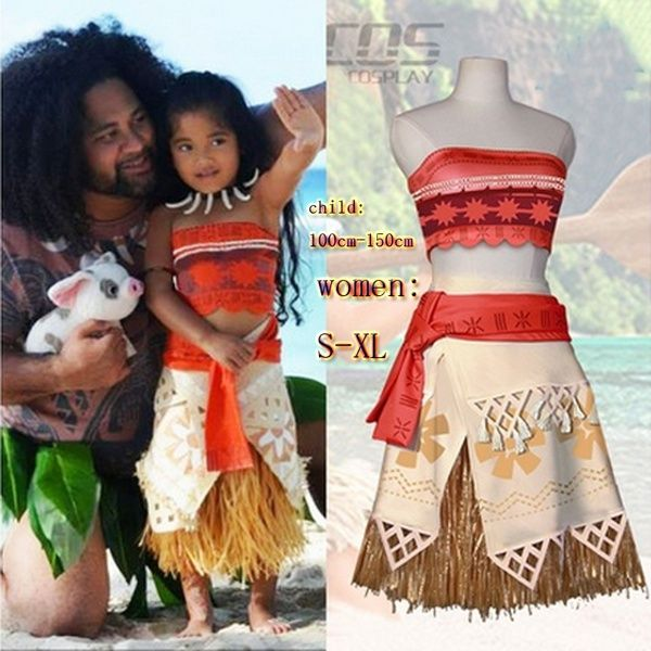 Wish | New Arrival Princess Cosplay Costume Set for Polynesian Girls Princess Costume Kids Dress Movie Halloween Beach Party Costume