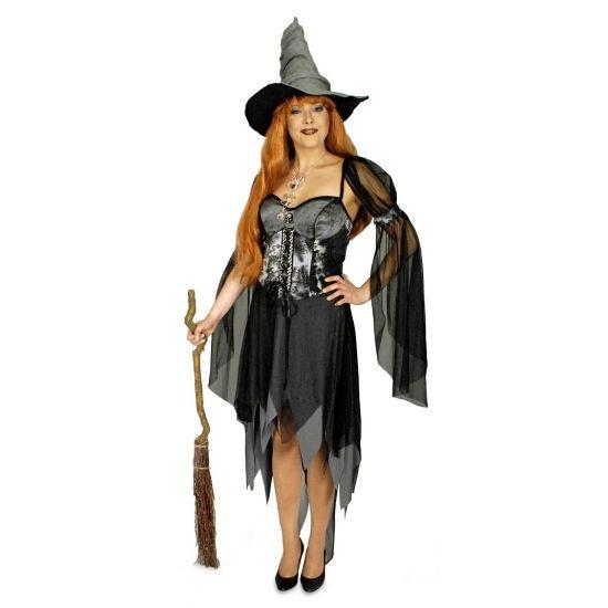 Halloween - Sexy heksen kostuum zwart voor dames  Sexy heksen kostuum zwart voor dames. Dit mooie heksen kostuum voor dames is aan de onder en bovenkant afgewerkt met stroken grijs en zwarte stof. De mouwen versiering is inclusief. Gemaakt van 100% polyester.  EUR 19.95  Meer informatie