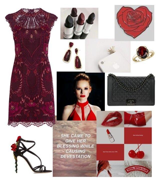 """Cheryl Blossom 🥀"" by raneliperera on Polyvore featuring Dolce&Gabbana, Karen Millen, Kendra Scott, Jewelonfire and Chanel"