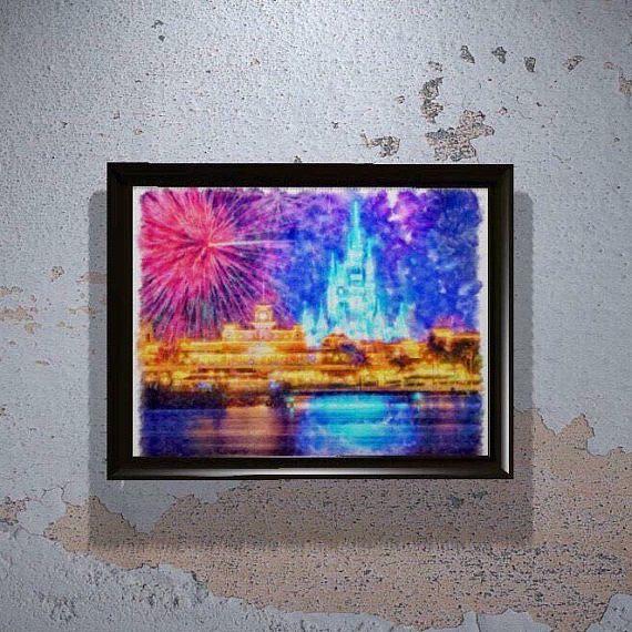 Magic Kingdom Print Disney Wishes Fireworks Disney World