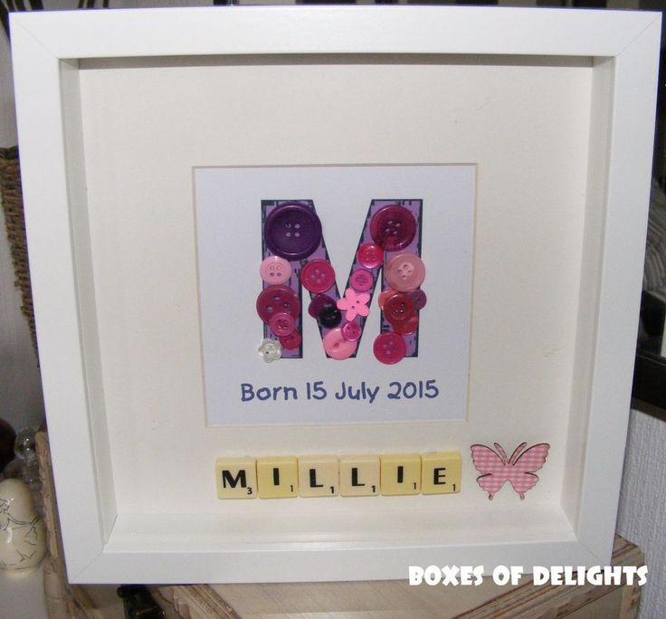 A to Z Scrabble name & button initial picture with personal message -handmade