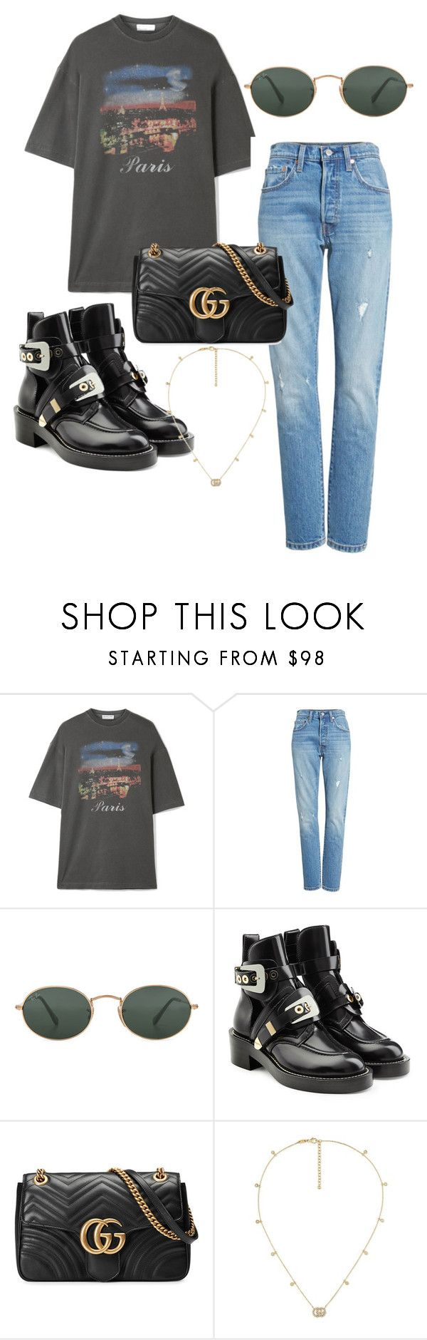 """""""Untitled #341"""" by stoutjami on Polyvore featuring Balenciaga, Levi's, Ray-Ban and Gucci"""
