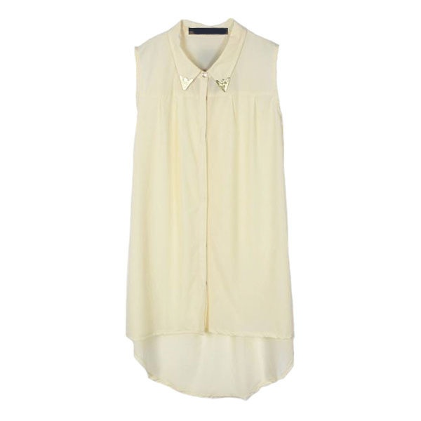 Beige Sleeveless Silk Chiffon Shirt with Dip Hem ($45) ❤ liked on Polyvore