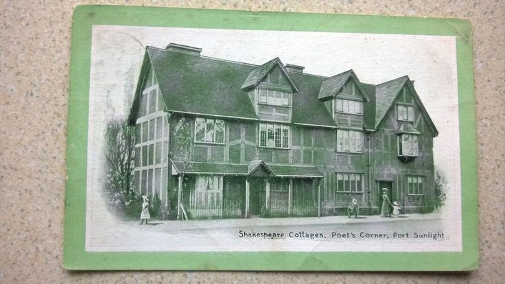 Vintage Postcard Shakespeare Cottages , Poet s Corner , Port Sunlight , Cheshire