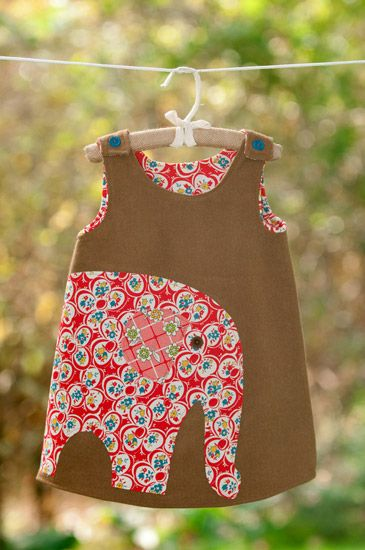 Cute.  Could definitely do this with my Ruby Ruffle Dress Pattern and just hand-draw the elephant applique. Can do this as a skirt