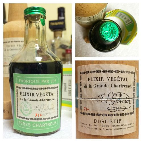 Chartreuse Elixir Vegetal circa 1960s. Purchased in the Bahamas in 1966 according to a small handwritten sticker on the back