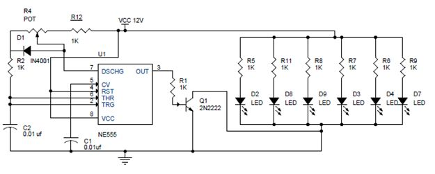 PWM LED Dimmer Using NE555 Circuit Diagram Get complete information about this circuit at http://www.electronicshub.org/pwm-led-dimmer-using-ne555/