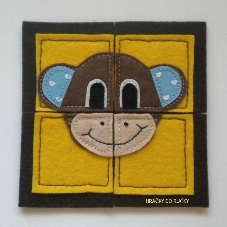 Puclík OPIČKA - OPIČKA - originální ručně šitá jednoduchá skládačka pro nejmenší děti s jednoduchým obrázkem v zářivých barvách - vel. 15x15 cm (1 obrázek 7,5 x 7,5 cm) - šitý z plsti, velmi příjemného měkkého materiálu, - skládačka je pevná, spodní část je 3 mm silná plst - každá skládačka je originál - nakoukněte i na další skládačky  - můžete ...