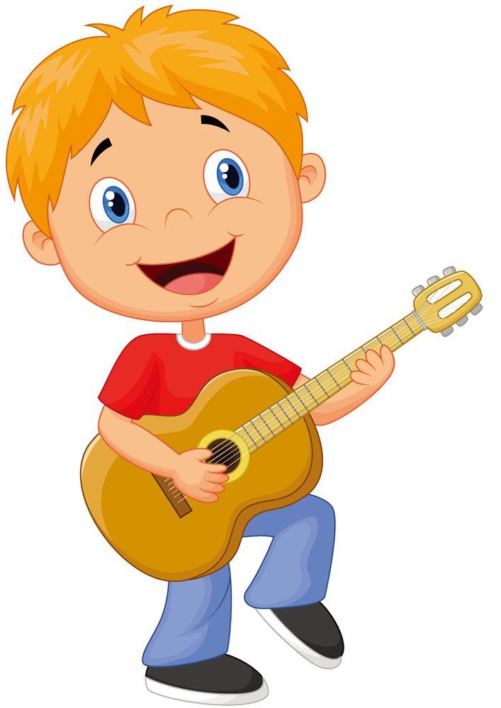 弹吉他的卡通男孩