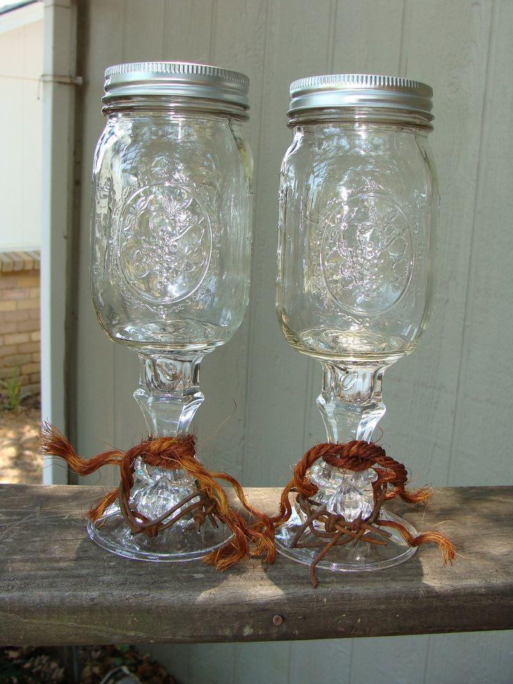 Redneck Wedding Ring Wine Glass Set