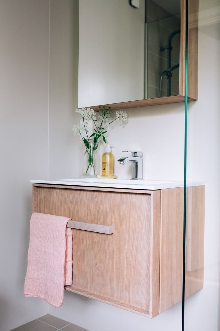 Modern bathroom furniture in oak
