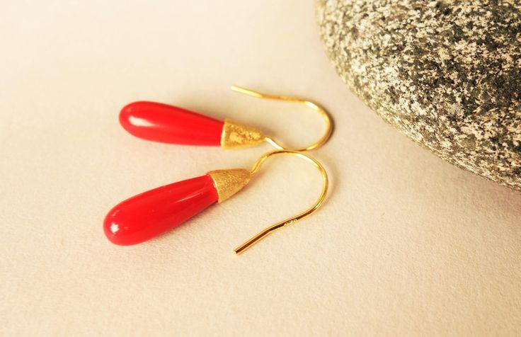 Ohrringe - Koralle Ohrringe 925 Silber vergoldet Unikat - ein Designerstück von FelicitasMayer bei DaWanda