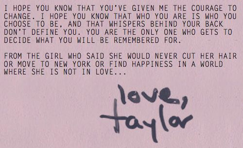 Taylor Swift's message for fans in 1989