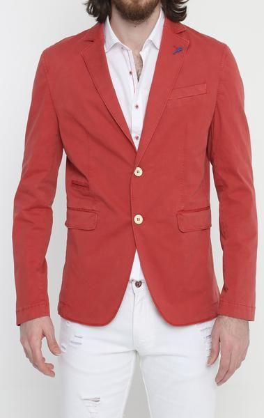 Lightweight Fitted Cotton Blazer - Red