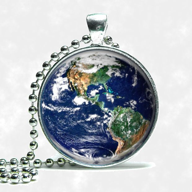 Planet Earth Globe Necklace Silver Tone With Ball Chain #Handmade #Pendant