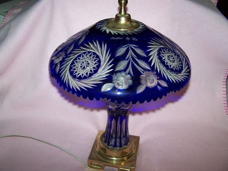 Vintage Table Lamp Cobalt Blue Cut To Clear Etched