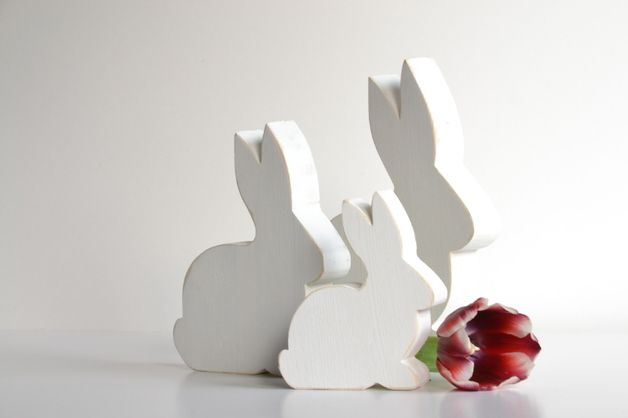 Osterhasen aus Holz im shabby style / easter rabbits out of wood for decoration made by SteffiMarten via DaWanda.com