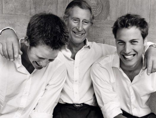 Princes Charles, William and Harry.  Love how relaxed and fun the pic is :)