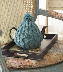 free #knitting pattern for a  © Patons Cushy Smocked Throw and Tea Cozy