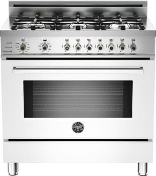 bertazzoni white pro series 36 inch dual fuel range with convection