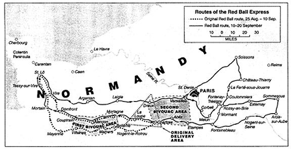 The original Red Ball route was a loop road that ran one way to Chartres on one designated highway and back, one way, on another. The French road system was so clogged with American military vehicles that had the Red Ball route not been a dedicated, one-way highway, the convoys would have quickly become bogged down in traffic.