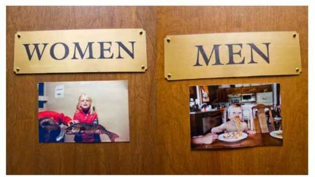 Decorate the bathrooms with childhood photos.
