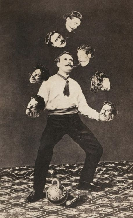 """Man juggling his own head,"""" unidentified French artist c.1870."""