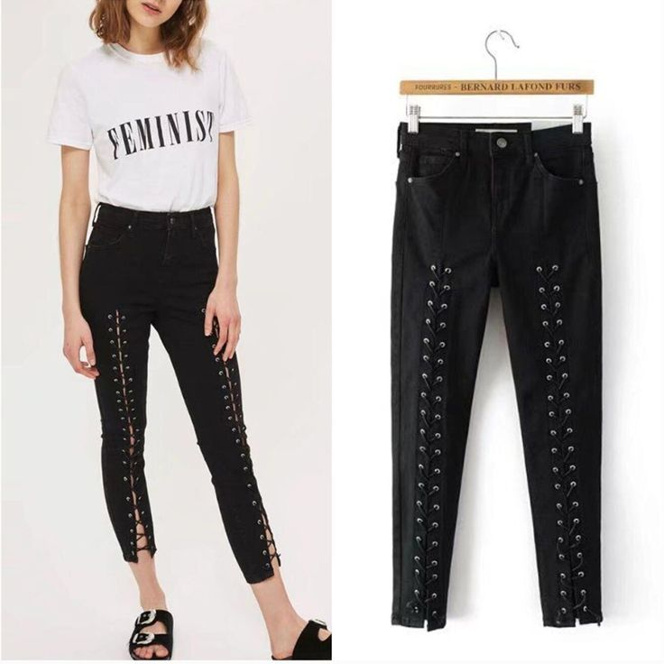 Nueva Alta Cintura Skinny Jeans Denim Mujer Negro Vendaje Fresco Lápiz Jeans Para Mujeres Altura Del Tobillo Ata para arriba Los Pantalones Vaqueros en Pantalones y Capris de Ropa y Accesorios de las mujeres en AliExpress.com | Alibaba Group
