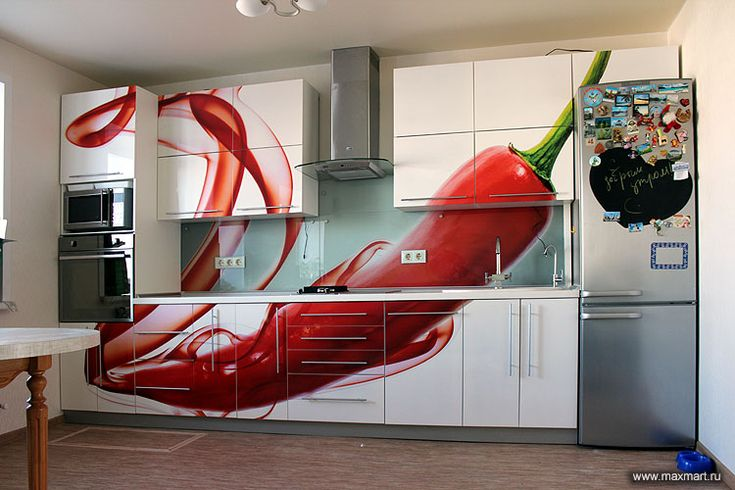 glass kitchen splashback + printed cabinet doors