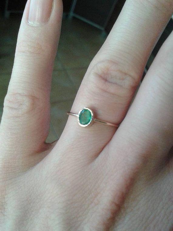 Ovale Emerald in 14 k goud smaragd ring door ARPELC