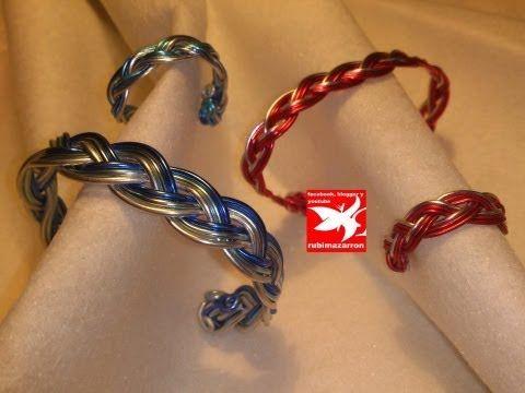 DIY.Bisuteria conjunto trenza de alambre