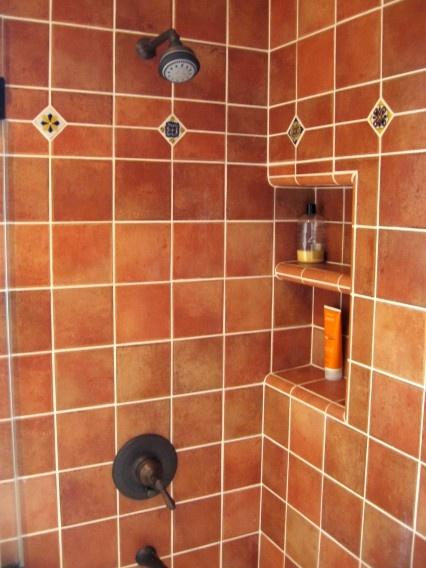 Mexican Hacienda Tile Shower Bathroom, Burnt Orange Tile And Brass Copper  Fixtures