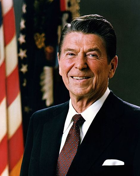 """Portrait: President Ronald Reagan. Credit: Executive Office of the President of the United States; Wikimedia Commons. Read more on the GenealogyBank blog: """"On This Day: President Ronald Reagan Shot!"""" https://blog.genealogybank.com/on-this-day-president-ronald-reagan-shot.html"""