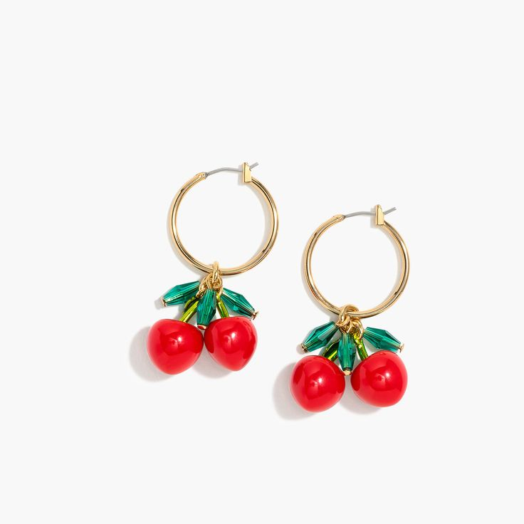 These cherry hoop earrings = our fresh accessory pick. P.S. You'll be seeing even more fruit motifs this summer... Get excited. Length: 1 5/8. Brass, zinc castings, resin, glass beads. Surgical steel posts.